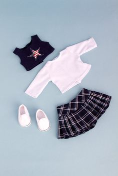 Star Student - School Uniform for 18 inch Doll - White Blouse, Skirt, Tank Top and Sneakers