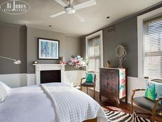 Master bedroom. We like the dado rail and also the ceiling fan