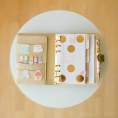 """My gold kikki.K planner with bookmarks by """"craftedvan""""! They have such kawaii designs!"""