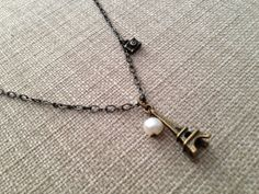 Buy Paris Dream - Eiffel Tower Antique Brass Necklace by earringsgirl. Explore more products on http://earringsgirl.etsy.com