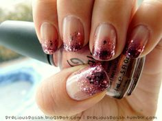 rosy gradient glitter nails
