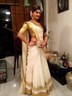 #Bollywood Style Inspiration: Ways To Wear Kerala Sarees For Onam Dhoti Saree, Kasavu Saree, Latest Saree Trends, Latest Sarees, Bollywood Wedding, Bollywood Style, White And Gold Saree, Saree Draping Styles, Summer Wedding Outfits