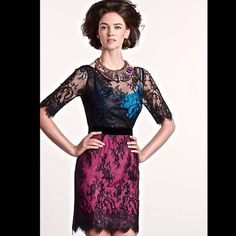 "Anthropologie Tracy Reese black lace overlay Dress Anthropologie / Tracy Reese black lace overlay""Toulouse Cocktail Sheath"" Dress . This laminated lace sheath is classic in shape, but made thoroughly modern by the brilliantly colorblocked silk lining that peeks though. Back zip * top lining is turquoise & pink silk * under that is black acetate lining * black velvet trim around waist New Without Tags * Size: 12 *there is a black line through the tag to prevent store return 38"" around bust…"