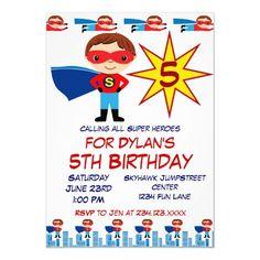 Superhero Kids Birthday Party Invitations for Boys Superhero Birthday Invitations, Superhero Birthday Party, Boy Birthday Parties, Birthday Ideas, 5th Birthday, Superhero Kids, Birthday Thank You Cards, Boys, Zazzle Invitations