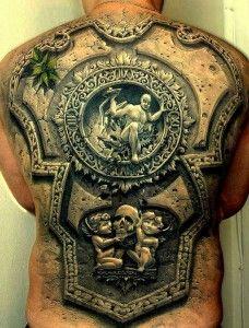 amazing full 3d tattoo design on back