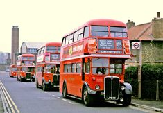 London Transport: A Lineup at Greenford Vintage London, Old London, London Transport, Public Transport, Rt Bus, Routemaster, Bus Route, Double Decker Bus, Travel