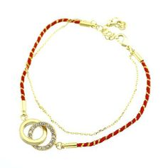 "Fashion Link Bracelet; 6""L With 2"" Extension Chain; Gold Metal; Red Threading; Clear Rhinestones; Lobster Clasp Closure; Eileen's Collection. $19.99"