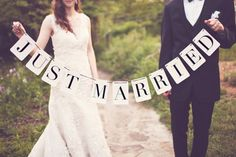 Just Married Banner Rectangle by tuckandbonte on Etsy, $30.00