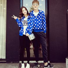 We Can't Stop Looking At These Matching Couples #refinery29 http://www.refinery29.com/2014/10/76710/asian-matching-couples-trend#slide10 Stars and black skinnies forever.