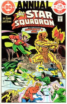 Cover for All-Star Squadron Annual (DC, 1982 series) #2; Infinity Inc., Jerry Ordway