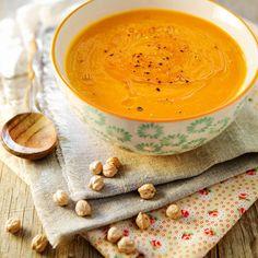 Receta de crema de garbanzos Real Food Recipes, Healthy Recipes, Soup And Salad, Cantaloupe, Tapas, Peanut Butter, Food And Drink, Menu, Fruit