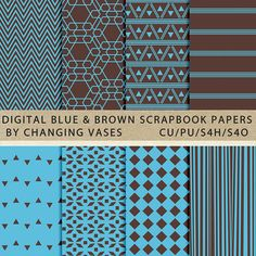 Digital Scrapbook Paper Pack Light Blue and Brown by ChangingVases