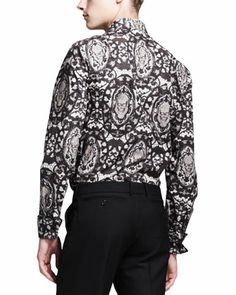 Alexander McQueen Lace-Skull-Print Dress Shirt & Wool/Mohair Trousers - Neiman Marcus