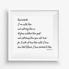 And behold,I am with thee,Genesis 28:15,home decor digital,Instant Download,Typography Printable,Bible verses,Wall art,digital drawing