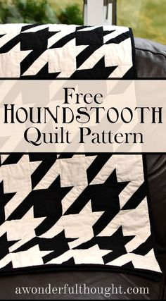 Sew Quilt - Today I am sharing a houndstooth quilt pattern with an optional embroidered Nebraska Huskers logo. This pattern is easy to incorporate into any decor. Diy Quilting Patterns, Modern Quilt Patterns, Quilt Block Patterns, Quilting Tips, Quilting Tutorials, Pattern Blocks, Quilting Projects, Quilting Designs, Quilt Blocks