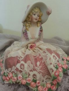 Porcelain Half Doll Pincushion by InLoveWithRibbons on Etsy
