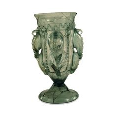 early Anglo-Saxon glass drinking vessel, Migration Period, early 5th century AD, from grave 843, Mucking, Essex, England