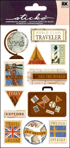 Travel stickers   -- CreateForLess $1.29