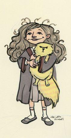 Sketch of Hermione Granger with Crookshanks by Meridth Gimbel