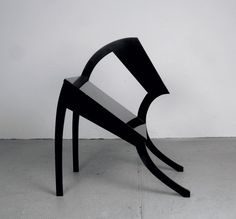 """Vertreterstuhl"" chair (1970) by Stefan Wewerka  I find this image particularly humorous, even anthropomorphic.  I think I respond to it because its starts off solid from one side and slowly transitions into this almost collapsed form, which could be something to experiment with drape-wise"