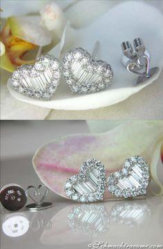 Beautiful Diamond Heart Earrings, 1,39 cts. G-VSI, WG18K - Find out: schmucktraeume.com - Like: https://www.facebook.com/pages/Noble-Juwelen/150871984924926