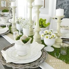 I have a fun little Easter place setting tutorial coming for you tomorrow! All the details will be #ontheblog first thing in the morning ;) happy Sunday friends! Tap for some sources. #easter #spring #tablescape #roomsforrentblog #diningroom #moss