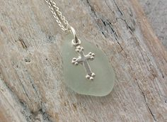 Scottish Sea Glass and Sterling Silver Cross Necklace - FAITH £19.00
