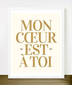 Mon coeur est à toi  Print français en Faux crème par theloveshop