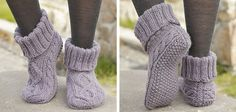 These stylish Celtic dancer knitted cable slippers are sure to keep your feet nice and toasty. The pattern comes with instructions for 3 different sizes.
