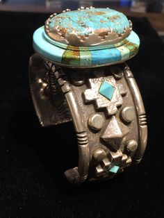 Kerah Tsosie Navajo inlay turquoise cuff sterling silver