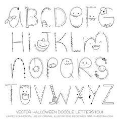 Halloween Letter Doodles Digital Stamps Clipart Clip by MissTiina Hand Lettering Fonts, Doodle Lettering, Creative Lettering, Simple Lettering, Lettering Tutorial, Handwritten Fonts, Halloween Letters, Halloween Doodle, Halloween Fonts