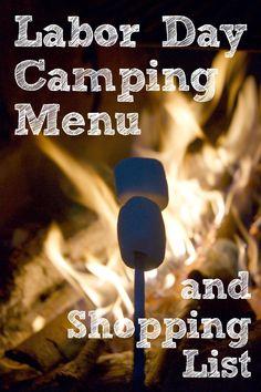 Labor Day Camping Recipes Menu and Shopping List