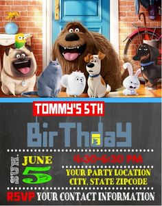 The Secret Life of Pets Birthday Party Invitations Personalized Custom | cutecreationsshoppe - Cards on ArtFire
