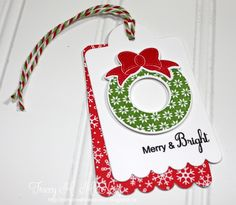Christmas Tag: Layered Tags & Cuttlebug Embossed Background -