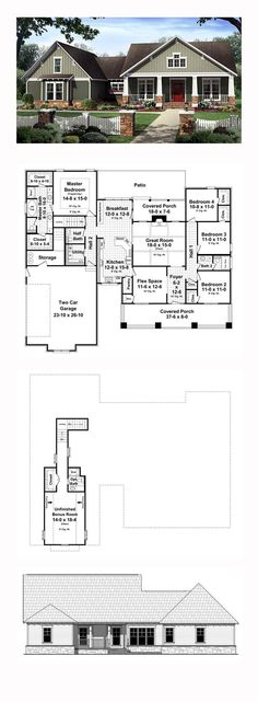 Bungalow House Plan 59207 | Total Living Area: 2199 sq. ft., 4 bedrooms and 2.5 bathrooms. #bungalowhome
