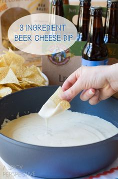 3-Ingredient Beer Cheese Dip #Recipe - ooh, a bowl of cheese dip this big is dangerous :)