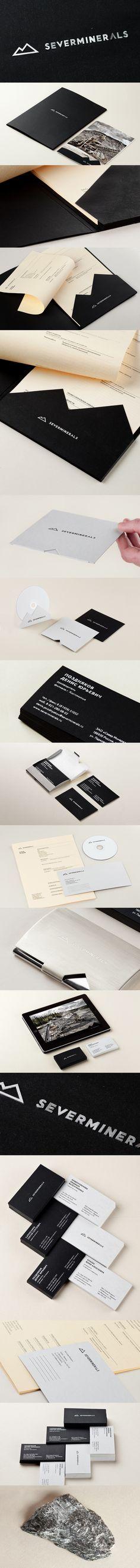Severminerals, Identity Branding Suite. Black. Silver. Business Card. Letterhead.