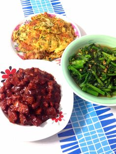 - Fish Otah Fried Eggs with Spring Onions - Stir Fried Chye Sim - Pork with Wine Residue (红糟)