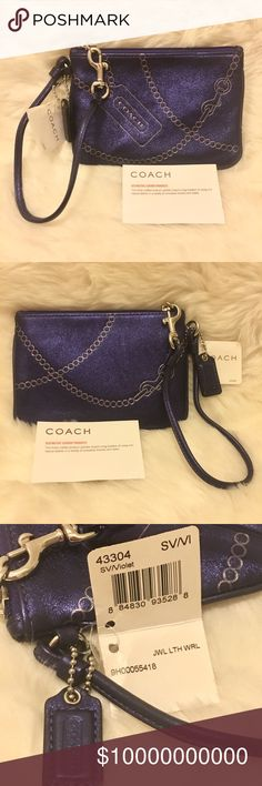 COACH Purple Leather Wrislet Purple metallic leather wristslet from Coach. Brand new never used.  No trade. No lowball please.  Price FIRM. NOT ACCEPTING OFFERS! Coach Bags Clutches & Wristlets