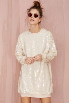 Nasty Gal Glisten Up Sequin Sweatshirt - Nude | Shop Tops at Nasty Gal