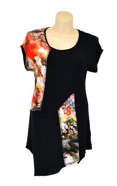 Keep in touch with your feminine side this autumn with this black tunic that features floral pattern patches. Each piece is unique as the patterns change from tunic to tunic. It will look great worn over leggings with a bright coloured necklace to pi -  - $59.99 at www.ilovetunics.com