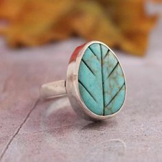 Turquoise Ring - Leaf ring - Artisan Ring - Green ring - Bezel ring - Gemstone Ring - Designer ring - Valentines gift idea on Etsy, $60.00