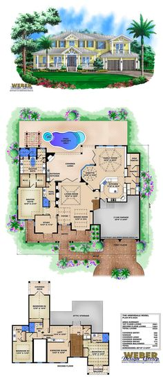 F2-4524 - Arbordale - two-story waterfront house plan. 4,524 square feet of living area. 4 bedrooms, 5 full baths, 2 car garage.