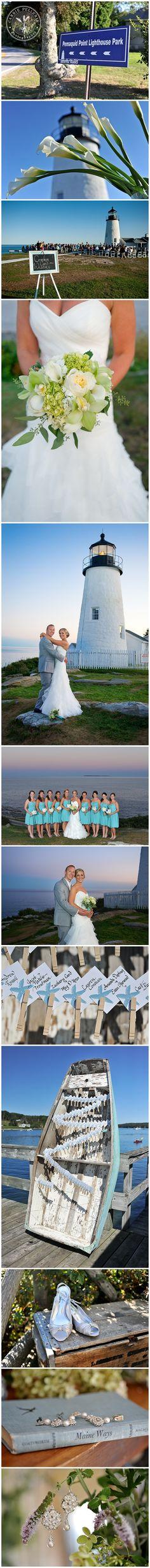 www.CarriePellerin.com    Coastal Maine Wedding, Pemaquid Point Lighthouse, Pastel Wedding colors, Ocean themed Wedding