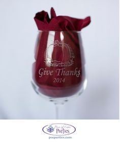 By Piece of Cake Parties.  Etched wine glasses make great favors for Thanksgiving.  Buy a complete handcrafted, unique Thanksgiving at pocparties.com.