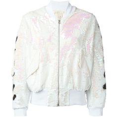 Off-White Sequin Bomber Jacket ($1,287) ❤ liked on Polyvore featuring outerwear, jackets, white, sequin jacket, sequin bomber jacket, white sequin jacket, bomber jacket and blouson jacket