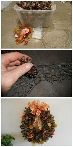 DIY Pine Cone Wreath Using Chicken Wire
