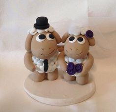 wedding cake topper love sheep bride and groom by seasonofgift