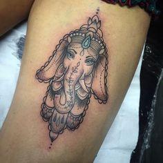 Hamsa hand elephant from today! thanks Meg! #tattoo #tattooart # ...
