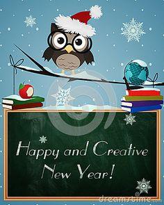 Owl Happy and Creative New Year by Okolaa, via Dreamstime